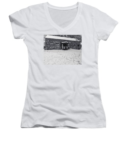 Shepherds Cottage Women's V-Neck T-Shirt (Junior Cut) by Keith Elliott