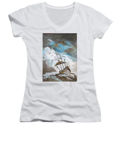 Ship In Need Women's V-Neck T-Shirt (Junior Cut) by Carole Robins