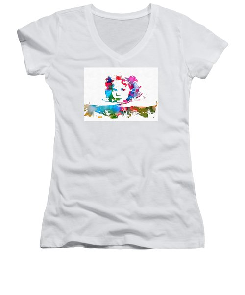 Shirley Temple Watercolor Paint Splatter Women's V-Neck T-Shirt