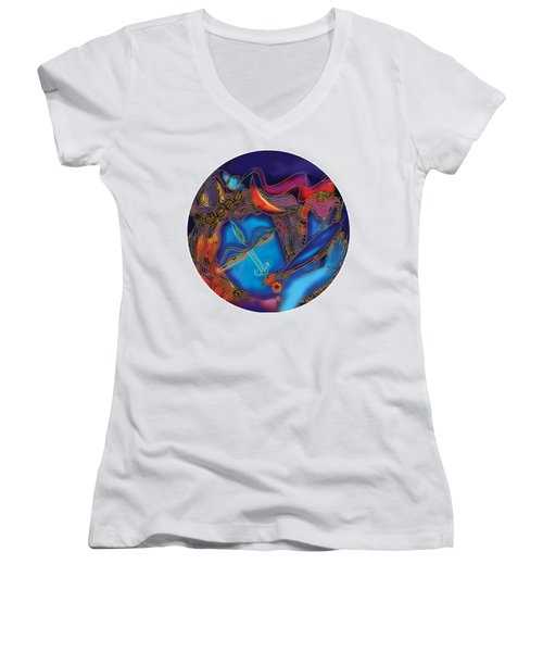 Shiva Blowing The Horn Women's V-Neck