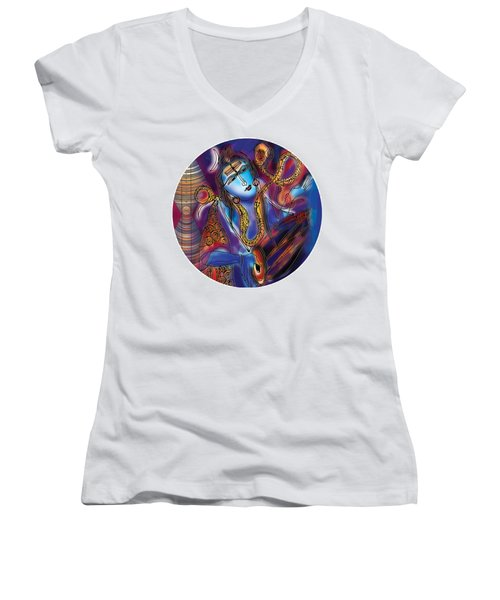 Shiva Playing The Drums Women's V-Neck