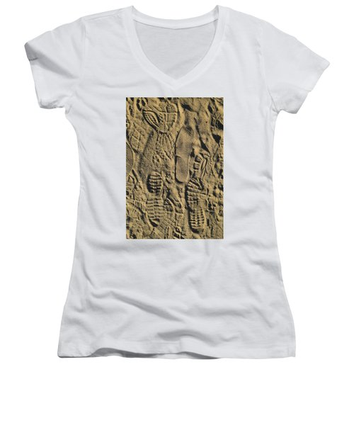 Shoe Prints II Women's V-Neck T-Shirt (Junior Cut) by R  Allen Swezey