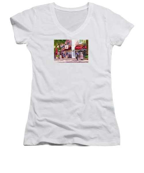 Women's V-Neck T-Shirt (Junior Cut) featuring the painting Shop Til You Drop  by Judy Kay