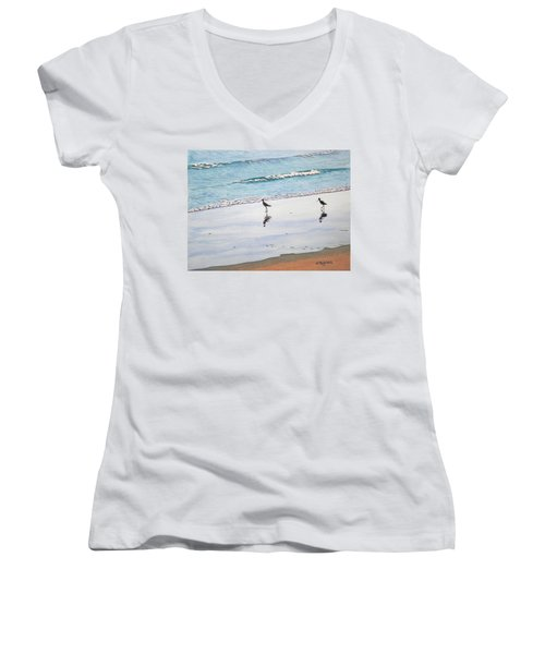 Shore Birds Women's V-Neck T-Shirt (Junior Cut) by Mike Robles