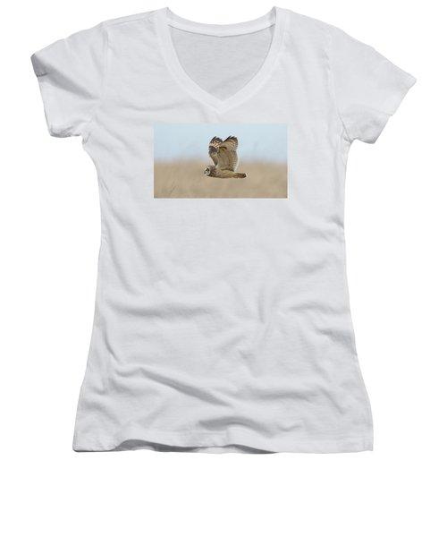 Short-eared Owl Hunting Women's V-Neck