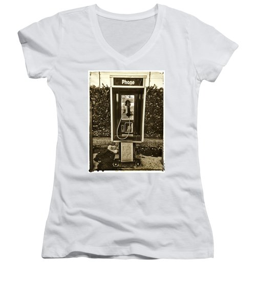Short Stack Pay Phone Women's V-Neck (Athletic Fit)