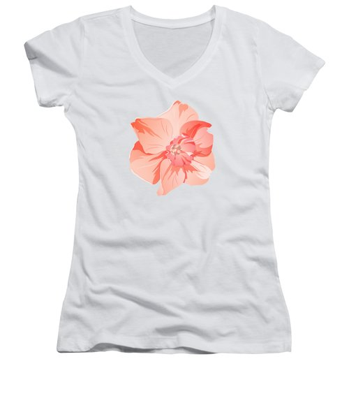 Short Trumpet Daffodil In Warm Pink Women's V-Neck (Athletic Fit)