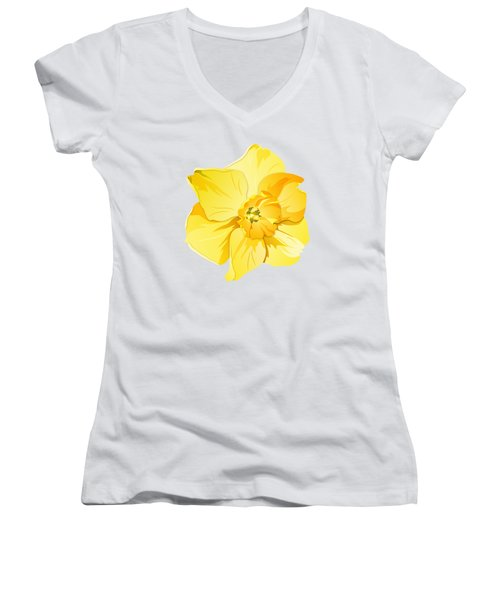 Short Trumpet Daffodil In Yellow Women's V-Neck T-Shirt