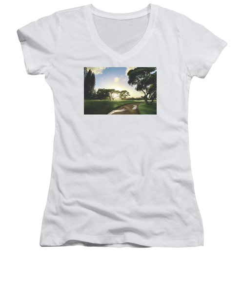 Women's V-Neck T-Shirt (Junior Cut) featuring the photograph Show Me The Way by Laurie Search