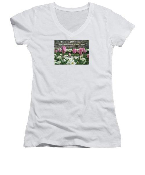 Showers Of Blessings Women's V-Neck T-Shirt