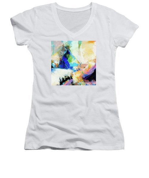 Women's V-Neck T-Shirt (Junior Cut) featuring the painting Shuttle by Dominic Piperata