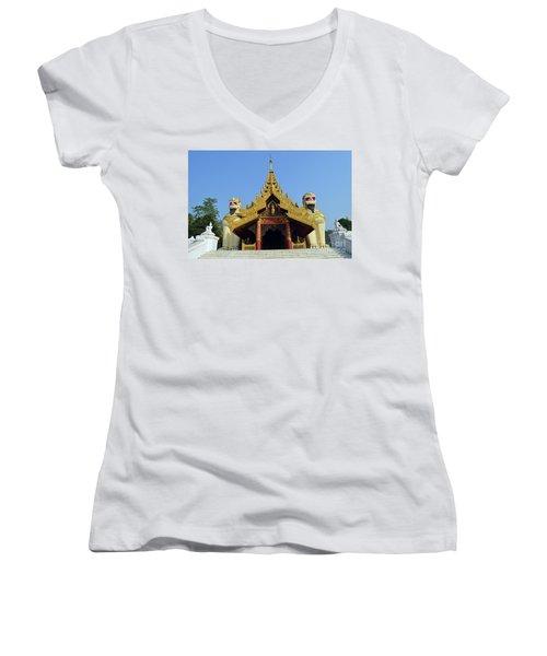 Women's V-Neck T-Shirt (Junior Cut) featuring the digital art Shwedagon Pagoda 4 by Eva Kaufman