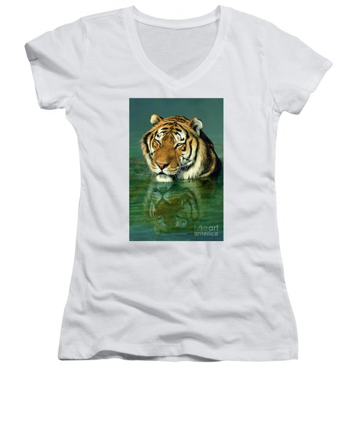 Siberian Tiger Reflection Wildlife Rescue Women's V-Neck (Athletic Fit)