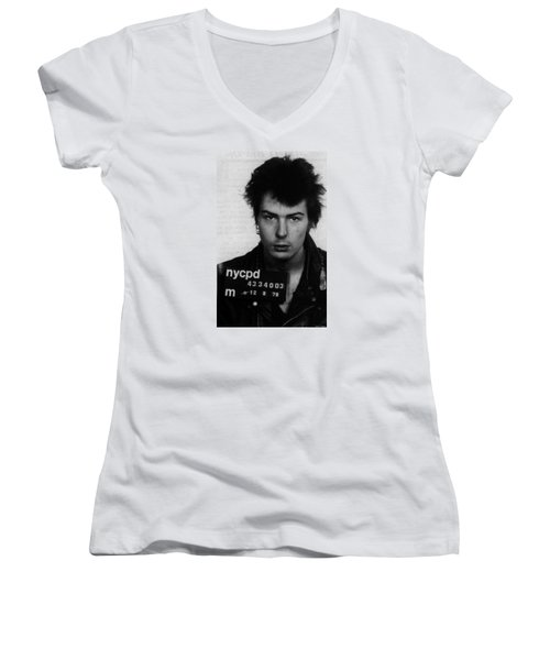 Sid Vicious Mug Shot Vertical Women's V-Neck