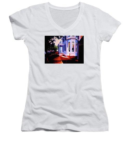 Side Street - Lambertville Women's V-Neck T-Shirt (Junior Cut) by Robert Henne