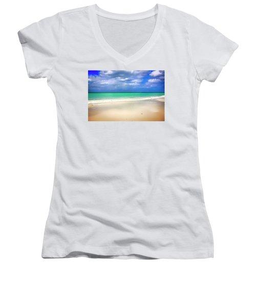 Siesta Key Beach Florida  Women's V-Neck T-Shirt (Junior Cut) by Chris Smith
