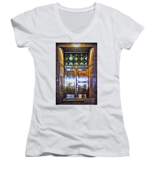 Women's V-Neck T-Shirt (Junior Cut) featuring the photograph Sights In New York City - Bright Door by Walt Foegelle