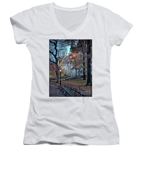 Women's V-Neck T-Shirt (Junior Cut) featuring the photograph Sights In New York City - Central Park by Walt Foegelle