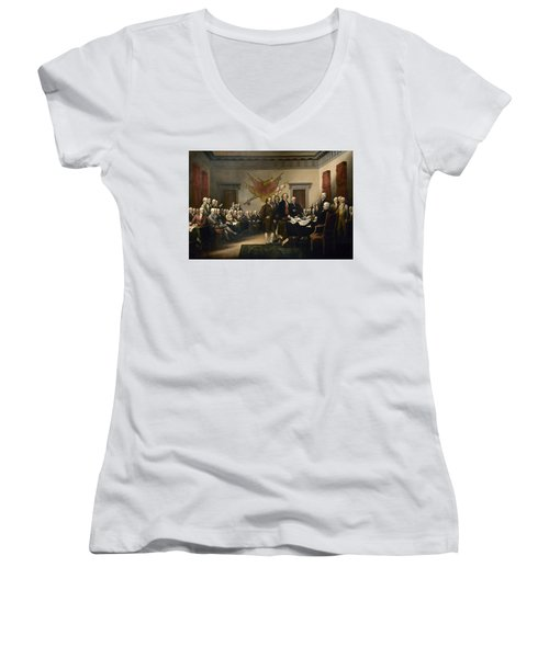 Signing The Declaration Of Independence Women's V-Neck (Athletic Fit)