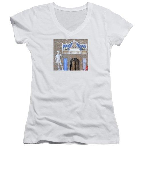 Signoria Square's David Women's V-Neck T-Shirt (Junior Cut) by Allan Levin