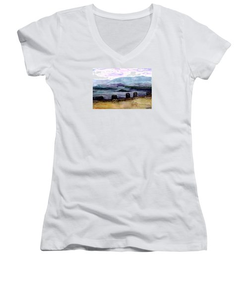 Women's V-Neck T-Shirt (Junior Cut) featuring the painting Silent Sentinels by Patricia Griffin Brett