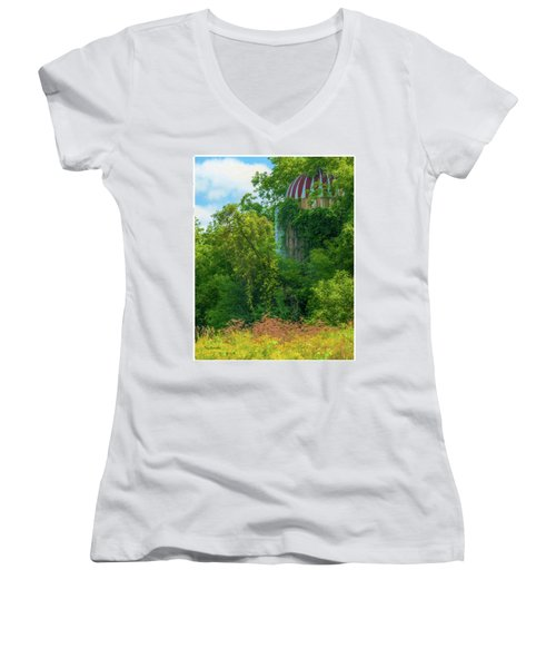 Silent Silo On Nottleson Road Women's V-Neck T-Shirt (Junior Cut) by Trey Foerster