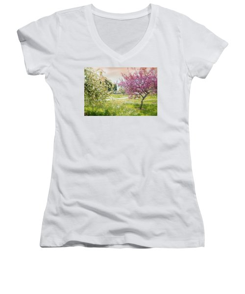 Women's V-Neck T-Shirt (Junior Cut) featuring the photograph Silent Wish You Make by Diana Angstadt