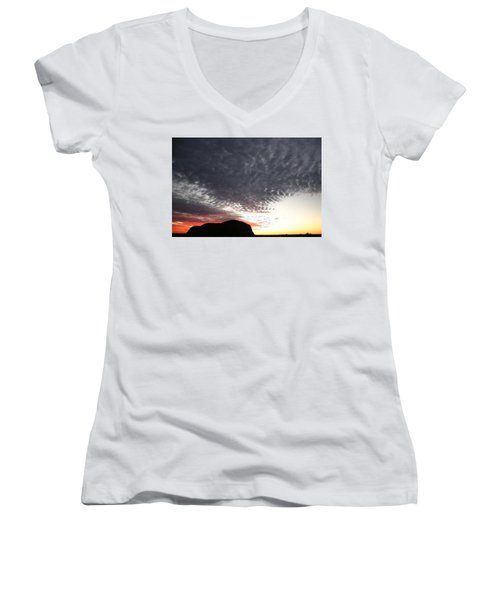 Silhouette Of Uluru At Sunset Women's V-Neck