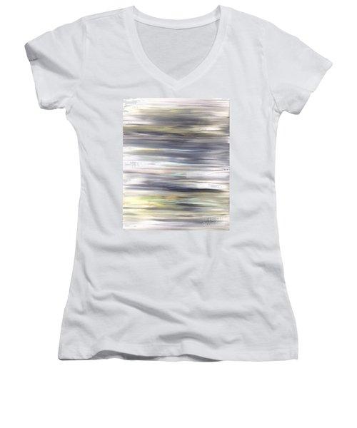 Silver Coast #26 Silver Teal Landscape Original Fine Art Acrylic On Canvas Women's V-Neck (Athletic Fit)
