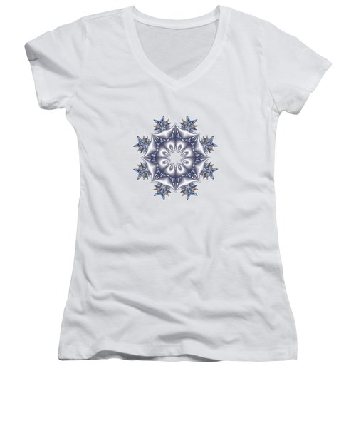 Silver Fractal Snowflake Women's V-Neck (Athletic Fit)