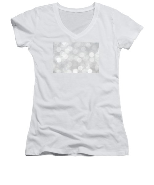 Silver Grey Bokeh Abstract Women's V-Neck T-Shirt (Junior Cut) by Peggy Collins