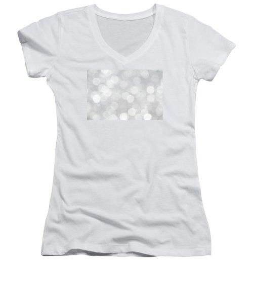 Silver Grey Bokeh Abstract Women's V-Neck T-Shirt