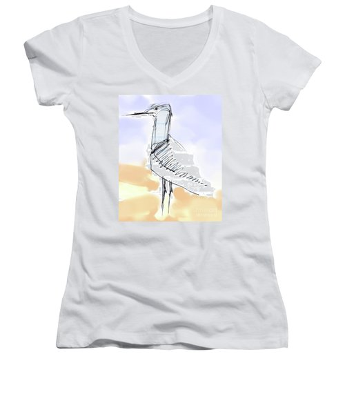 Women's V-Neck T-Shirt (Junior Cut) featuring the drawing Simon by Carolyn Weltman