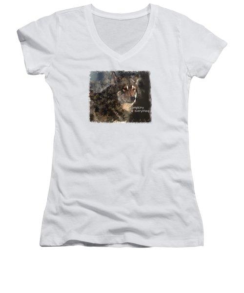 Simplicity Women's V-Neck T-Shirt (Junior Cut) by Elaine Ossipov