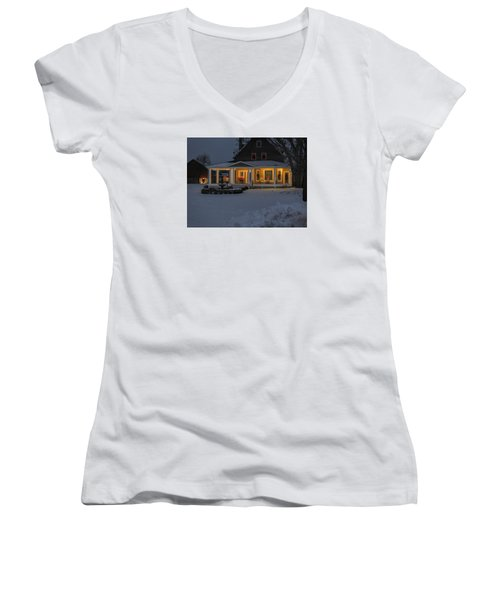 Women's V-Neck T-Shirt (Junior Cut) featuring the photograph Simply Elegant Porch by Judy Johnson