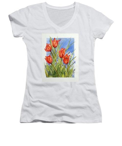 Simply Tulips Women's V-Neck T-Shirt (Junior Cut)