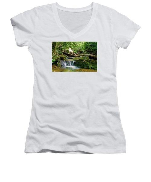 Women's V-Neck T-Shirt (Junior Cut) featuring the photograph Sims Creek Waterfall by Meta Gatschenberger