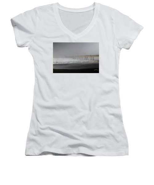 Women's V-Neck T-Shirt (Junior Cut) featuring the photograph Since You Left  by Laurie Search