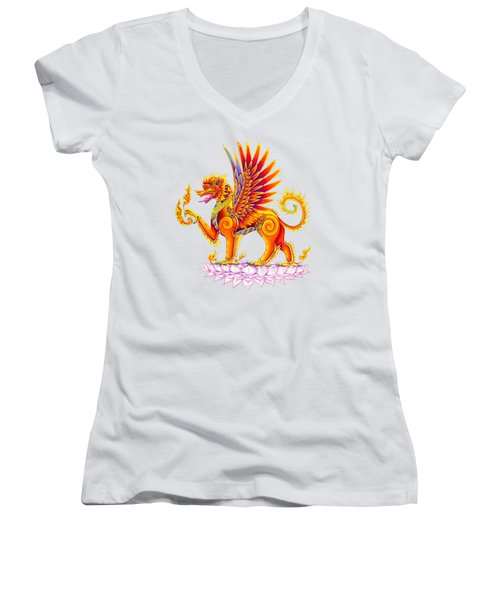 Singha Winged Lion Women's V-Neck (Athletic Fit)