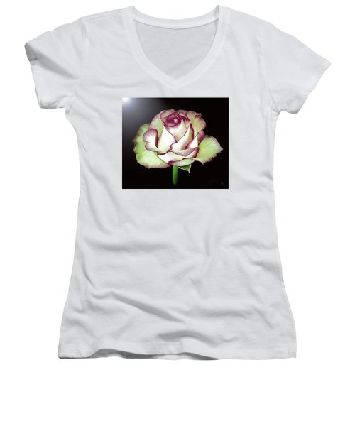 Single Beautiful Rose Women's V-Neck