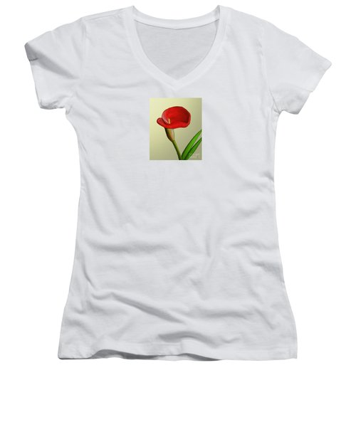Women's V-Neck T-Shirt (Junior Cut) featuring the painting Single Pose by Rand Herron