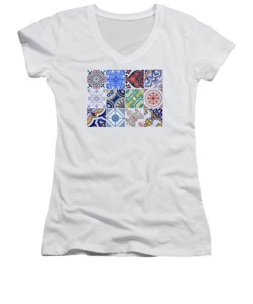 Women's V-Neck T-Shirt (Junior Cut) featuring the photograph Sintra Tiles by Carlos Caetano