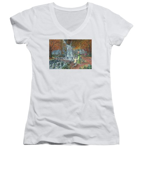 Women's V-Neck T-Shirt (Junior Cut) featuring the painting Sir Galahad Becomes Queen's Champion by Anthony Lyon