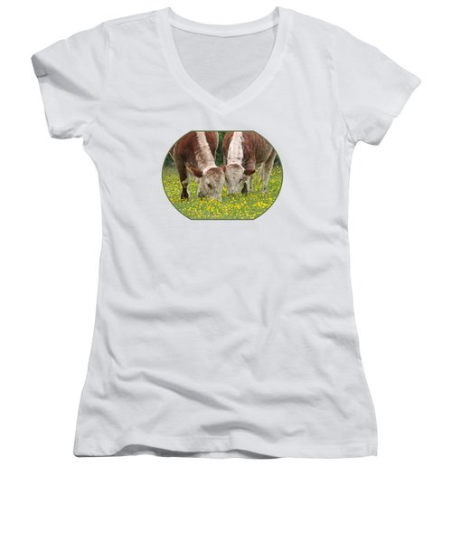 Sisters - Brown Cows Women's V-Neck (Athletic Fit)