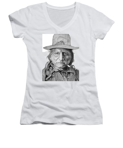 Sitting Bull Women's V-Neck T-Shirt (Junior Cut) by Lawrence Tripoli