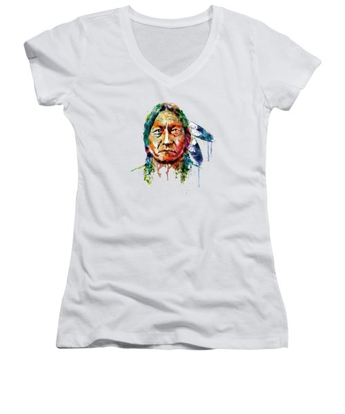 Sitting Bull Watercolor Painting Women's V-Neck T-Shirt (Junior Cut) by Marian Voicu