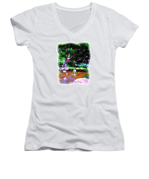 Women's V-Neck T-Shirt (Junior Cut) featuring the painting Sitting In The Shade by Patricia Griffin Brett
