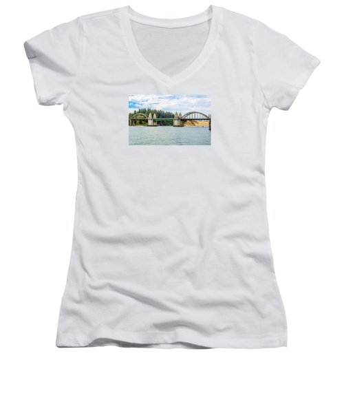 Siuslaw River Draw Bridge  Women's V-Neck T-Shirt (Junior Cut) by Dennis Bucklin