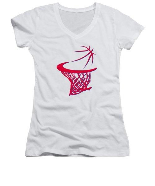 Sixers Basketball Hoop Women's V-Neck T-Shirt (Junior Cut) by Joe Hamilton