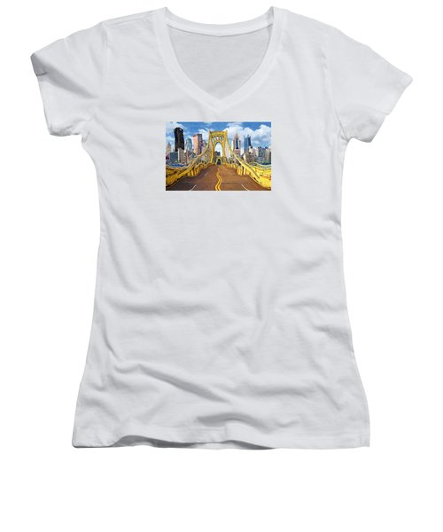 Sixth Street Bridge, Pittsburgh Women's V-Neck T-Shirt (Junior Cut)